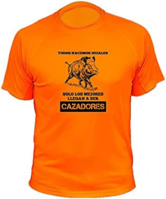 Camisetas de Caza, Jabalí Dibujo, Todos nacemos Iguales Solo los Mejores Llegan a ser Cazadores (30144, Naranja, M): Amazon.es: Deportes y aire libre