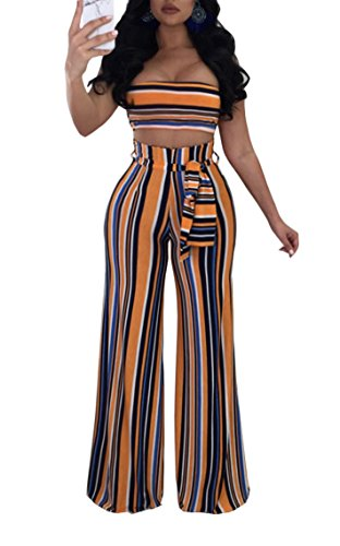 Cutedi Womens Sexy Rainbow Stripe Print Bodycon Strapless Tie Waist 2 Piece Outfits Jumpsuits Tube Crop Top and Wide Leg Long Pants Set Orange L -