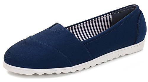 Flats Ballet Classic (ComeShun Womens Shoes Classic Slip On Comfort Sneaker Casual Ballet Flats Navy Size 10)