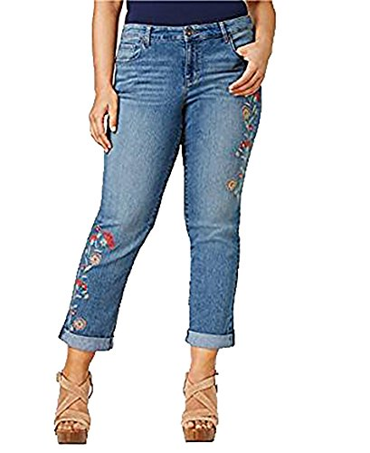 Style & Co Plus Size Embroidered Boyfriend Jeans (16W, Camino Wash) by Style & Co.