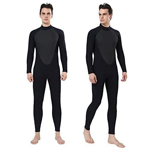 Realon Wetsuit Men 3mm Full Surfing Suit Scuba Diving Suit Snorkeling Suits Jumpsuit Winter Swimming Suit Men (Black, Medium) ()
