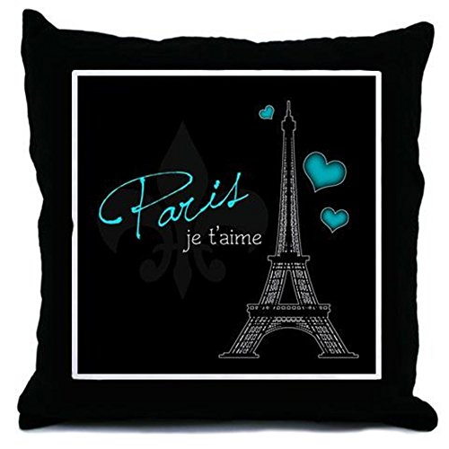 CafePress - Paris je t'aime Throw Pillow (blue) - Throw Pillow, Decorative Accent Pillow