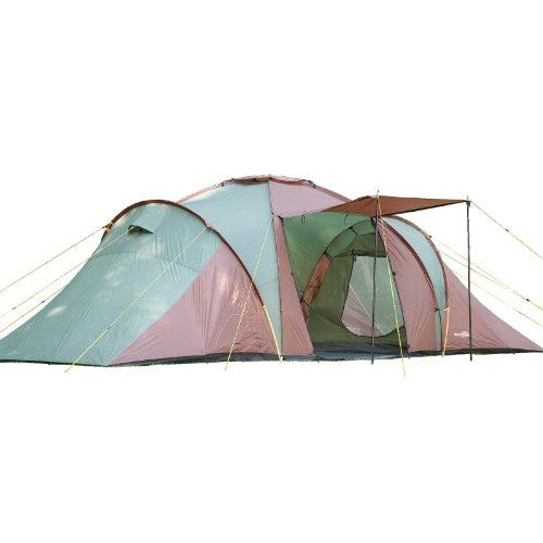 Skandika Daytona XXL Familien-Zelt für 6 Personen, wasserdicht durch starke 3000 mm Wassersäule. Großes, geräumiges und robustes Outdoor Camping-Zelt mit 3 Schlaf-Kabinen, Insekten-Netzen und über 2 m Stehhöhe