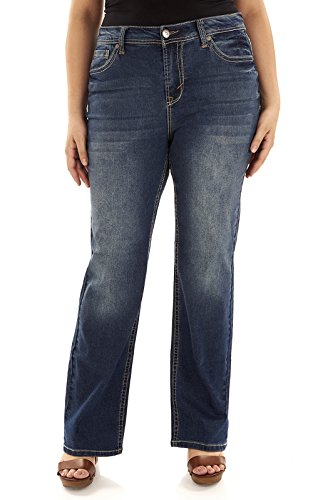 WallFlower Plus Size Basic Legendary Bootcut Jeans in Katy Size:18 Plus Short - Boot Flare Jeans
