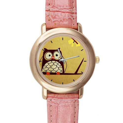 Gifts for girls or ladies Cartoon Cute Owl Design Pink Leather Alloy High-grade Watch