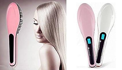 takestop - Alisador de pelo cepillo eléctrico de energía de ionización, pantalla LCD y enchufe