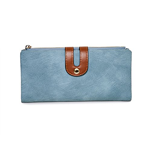 IFUNLE Womens Long Clutch Slim Wallet Large Capacity Thin Bifold Wallet Card Holder Cash Key Passport Checkbook Organizer Zipper Buckle Travel Coin Purse Handbag (Light Blue) by IFUNLE (Image #1)