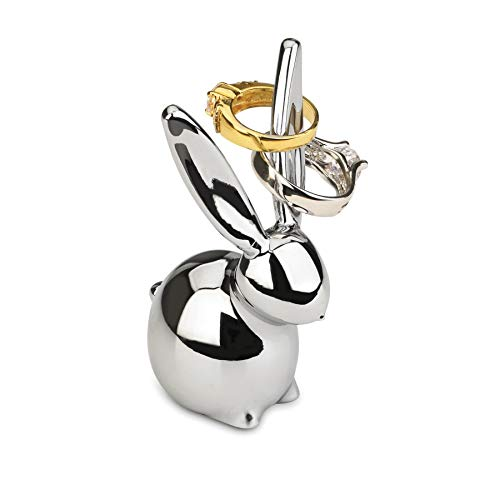 Umbra, Chrome Zoola Bunny Holder, Metal Ring Display for Jewelry