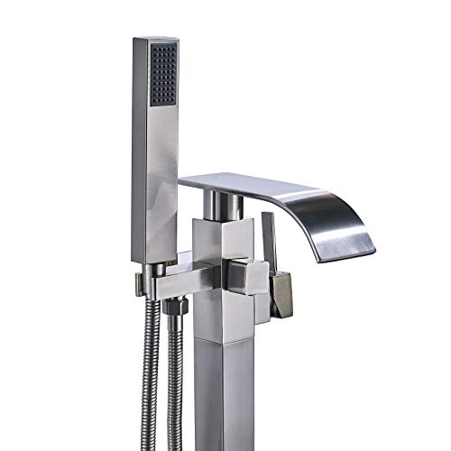 Rozin Floor Mounted Bathtub Faucet Single Lever Mixer Tap with Handheld Shower Brushed Nickel