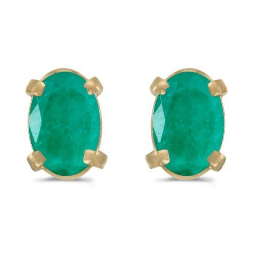 14k Yellow Gold Oval Emerald Earrings