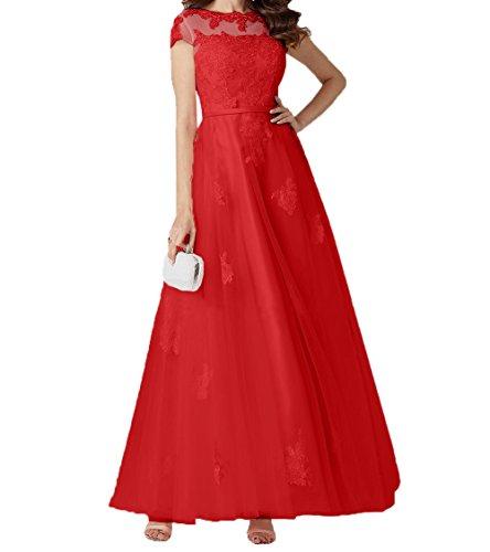 Romantisch Abschlussballkleider Charmant Promkleider Linie Damen A Rot Spitze Rock Lang Kurzarm Brautmutterkleider Abendkleider qSTa5
