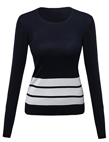 Awesome21 Contemporary Casual Viscose Nylon Textured Stripe Sweater Navy Size L
