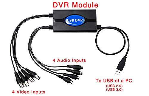 HD 960P Realtime 4 Channel USB DVR Video Supervision Capture Card With Night vision CCTV Surveillance Camera USB3.0 USB2.0 Support For WIN10/8/7/XP Remote View IOS Android ()