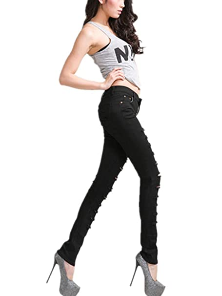 Amazon.com: ussuperstar Punk de la mujer Denim Ripped ...