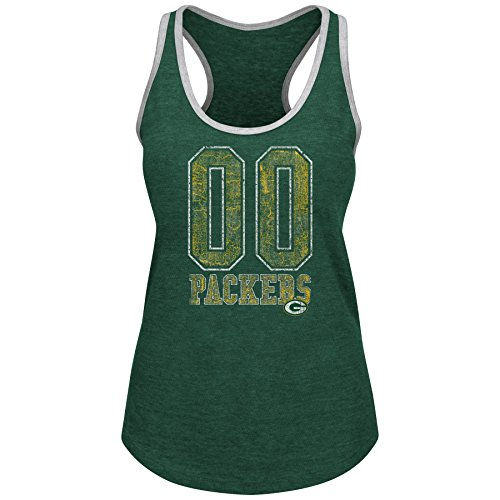 Profile Big & Tall NFL Green Bay Packers Adult Women NFL Plus Packers Team Heather Tank,2X,Dk Green Hthr/Grey by Profile Big & Tall