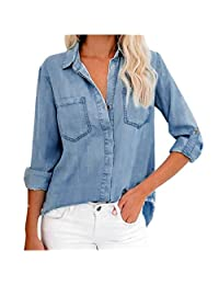OCEAN-STORE Women Denim Shirt Long Sleeve Pocket V Neck Tee Popular Blouse Back Split Tops