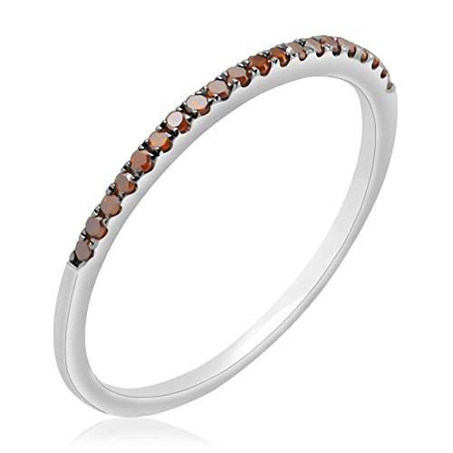 Prism Jewel Round Cognac Diamond Half Eternity Stackable Ring in 14k White Gold, Size 6 by Prism Jewel