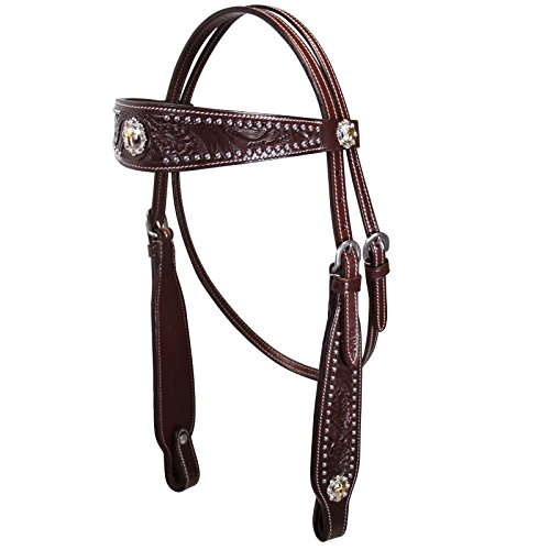 Dark Oil Leather (Tahoe Buckaroo Classic Headstall USA Leather with Gold Cross Conchos Dark Oil - Over Stock Sale)