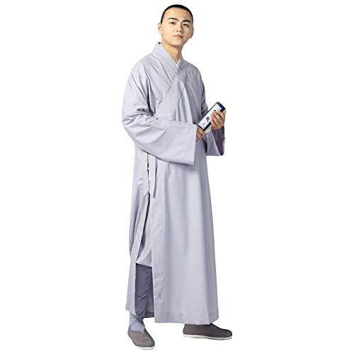ZooBoo Summer Buddhist Shaolin Monk Robe Cotton Linen Long Robes Gown Kung Fu Uniforms Martial Arts Clothings (Light Gray, 45)
