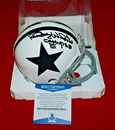 Autographed Randy White Mini Helmet - Throw Back Beckett CO MVP SB XII - Beckett Authentication - Autographed NFL Mini Helmets