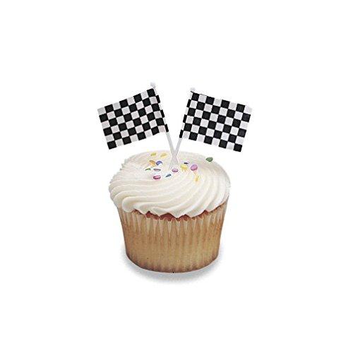 Racing Checkered Flag Cupcake Picks Set of 12