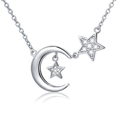 (S925 Sterling Silver Bling CZ Crescent Moon Star Jewelry Pendant Necklace,Rolo Chain,18+2