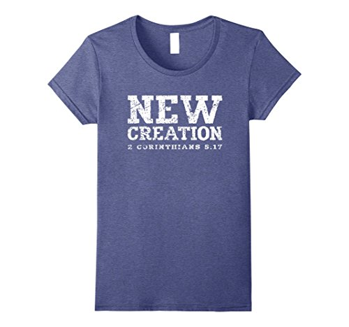 Womens NEW CREATION Tshirt 2 Corinthians 5:17 Tee Shirt Large Heather Blue