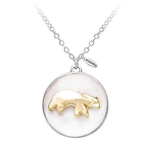 NOUMANDA Necklace Jewelry Gold Polar Bear Glass Necklace Art Pendant Bear ()
