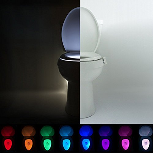 IllumiBowl Toilet Night Light - (As Seen On Shark Tank) Motion Activated, Multi-Color, Universal - In New Light Built Night