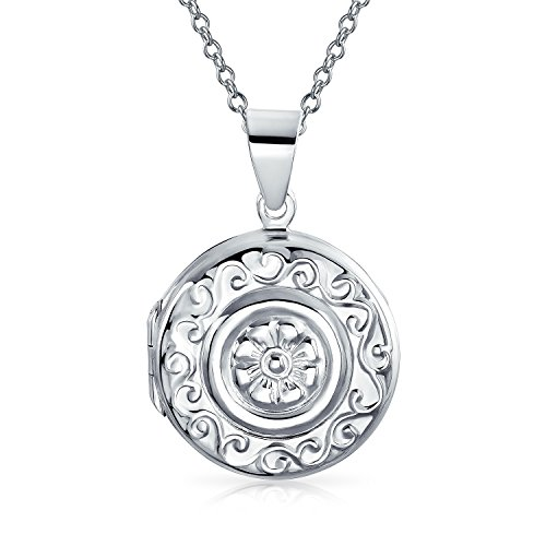 Sailors Embossed Flower Round Locket Pendant Sterling Silver Necklace 18 Inches