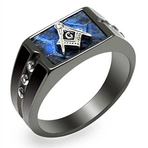 Vip Jewelry Co Men's Blue Agate CZ Stainless Steel Masonic Lodge Freemason Ring Size 8-14 (12)