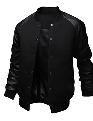 Fashion Front Collar Coats Black Men's Jackets GRMO Stand Button Patchwork TtqypOwxB5