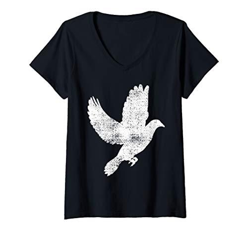 Womens Dove Vintage Flying Pigeon Gift V-Neck T-Shirt