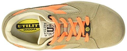 Diadora D-Jump Low S1p Esd, Zapatos de Trabajo Unisex Adulto Blanco (Beige Safari/arancio Flame)