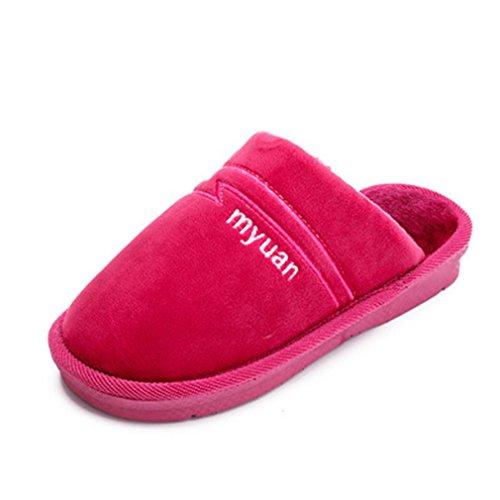Giy Inverno Caldo Donne / Uomini Coppie Pantofole Di Pelliccia Coperta Morbido Peluche Accogliente Pantofole Antiscivolo Casa Pantofola Rosa Rossa