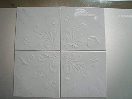 Floral Metal Tiles Self Adhesive Decorative White Embossed Set of 16 (6in x 6in) (Renewed)