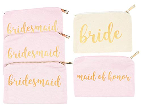 Bridal Shower Makeup Bag - 5-Pack Cosmetic Pouches for Wedding Favors, Bachelorette Party Gifts, and Bridal Shower Accessories, 7 x 5 Inches by Blue Panda
