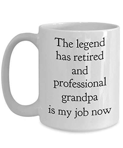 Funny Fox Grandpa Mug The Legend Has Retired Professional Grandfather Is My Job Now Gift Idea For Mexican Golf Tat Trucker Music Western 75th Birthday Unique Custom Novelty Coffee Tea Cup