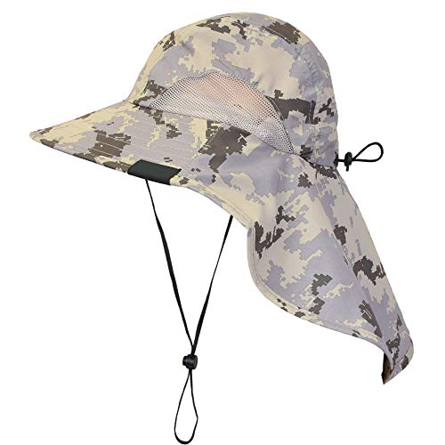 Tirrinia Unisex Outdoor Sun Protection Fishing Cap Boonie Hat with Neck Flap  Wide Brim for Safari Camping Hiking Hunting Boating and Outdoor Adventures d70dfa908460