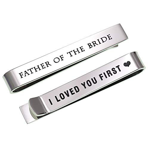LParkin Father of The Bride Gifts Wedding Tie Clips Gifts for Groomsmen from The Bride Stainless Steel Tie Bars Polished Finish 3/8 Inch Wide 2 Inches ()