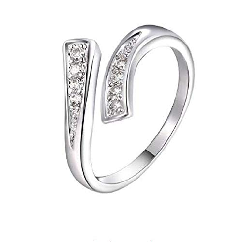 dufu-beauty-store. Charming Stylish Silver Plated Brass Finger Rings Inlay Zircon Luxury Wedding Party Open Ring for Women