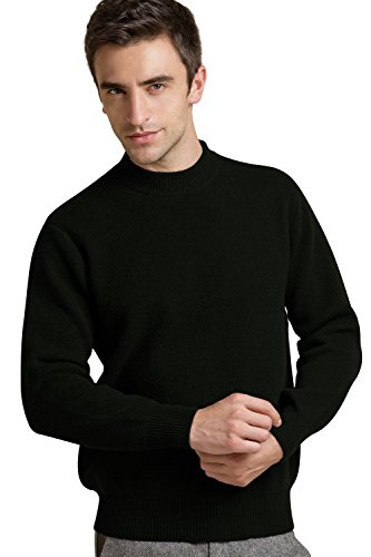 Chesslyre Chessyre Mens Sweaters Cashmere,Mock Neck Men Cashmere Sweater Black Pure Cashmere Jumpers Sale