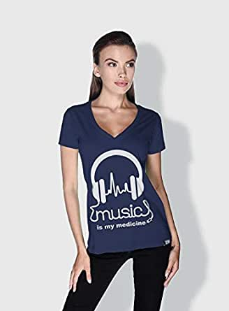 Creo Music Is My Medicine Trendy T-Shirts For Women - M, Blue