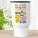 Life Gives Lemons Travel Mug With Lid, 18 oz Polymer Tumbler Cup, Grab Vodka Gift for Girl Friends -  Foxy Mug