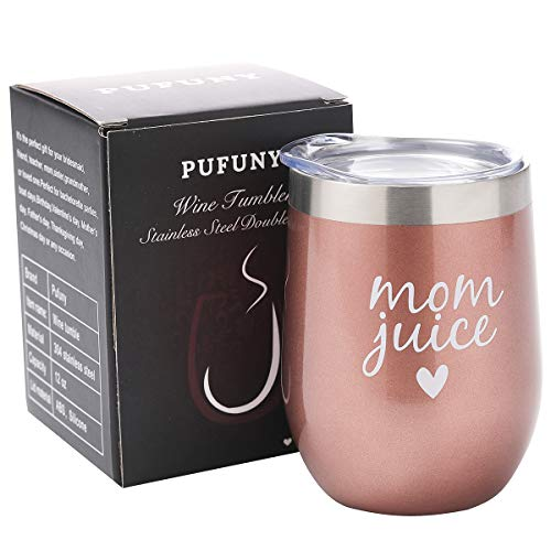 Pufuny Mom Juice Wine Tumbler Insulated Stemless Funny Sippy Cup with Lid,Mother's Day, Mom Birthday, Christmas, Valentine's Gift for Mom 12 oz Rose Gold