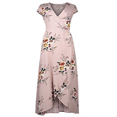 IHRKleid Mujeres Vestido Gasa Floral Atractivo Furcal para La Fiesta de Playa Cuello V rosa oscuro