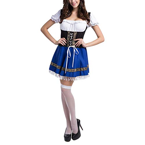Slimate Women's Oktoberfest Costume Bavarian Beer Maid Dress Halloween Outfits,White,Tag 2XL=US L by Slimate (Image #1)