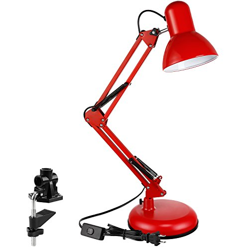 TORCHSTAR Metal Swing Arm Desk Lamp, Interchangeable Base Or Clamp, Classic Architect Clip On Table Lamp, Multi-Joint, Adjustable Arm, Red Finish by TORCHSTAR