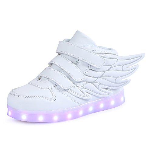 SAGUARO Kinderschuhe mit Leuchtende Sohle 7 Farben LED Schuhe USB Aufladen Leuchtschuhe Mädchen Jungen Blinkschuhe Licht Sportschuhe Turnschuhe Sneaker Weiß