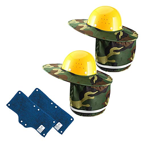 - Cooyeah 2 Pack Hard Hat Sun Neck Shield Sweatband Set, Full Brim Mesh Sun Shade Protector for Hard Hats, Helmet,Reflective Stripe, Sun Protection (Camouflage Color)